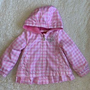 Pink and white gingham coat